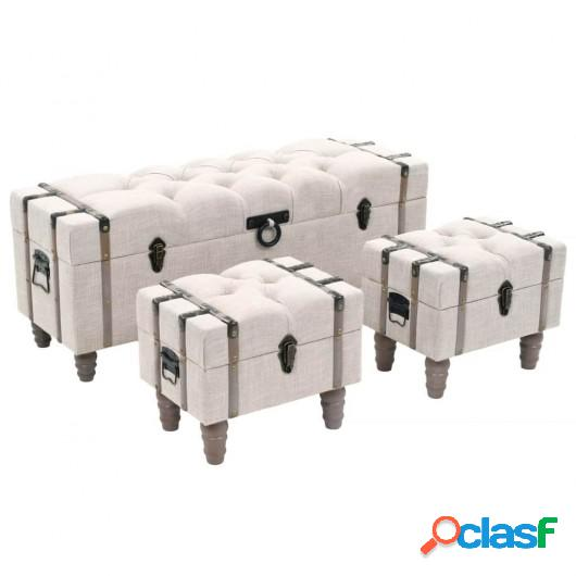 Bancos de almacenamiento 3 piezas madera y acero 112x37x45