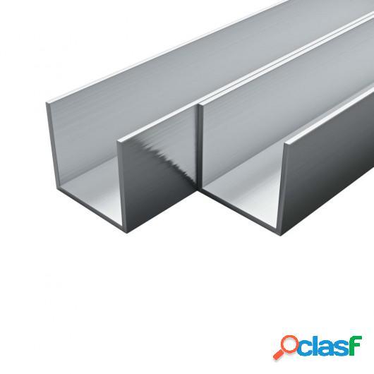 Barras de canal de aluminio perfil en U 2 m 4 uds 10x10x2mm