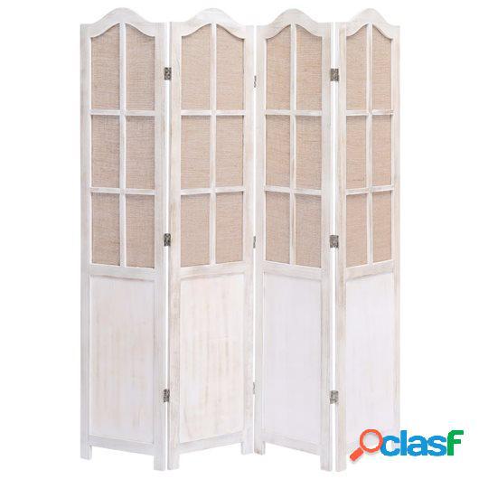 Biombo de 4 paneles de tela blanco 140x165 cm