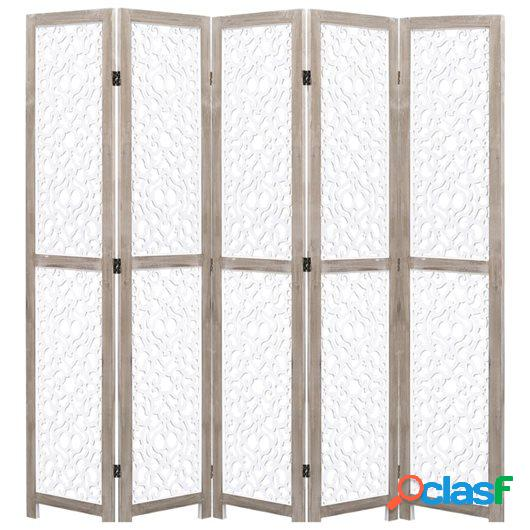 Biombo de 5 paneles de madera maciza blanco 175x165 cm