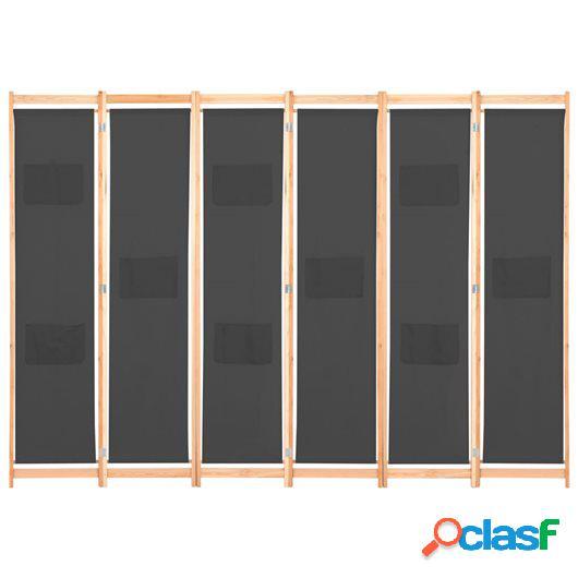 Biombo divisor de 6 paneles de tela gris 240x170x4 cm