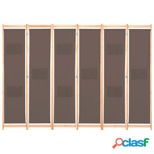 Biombo divisor de 6 paneles de tela marrón 240x170x4 cm