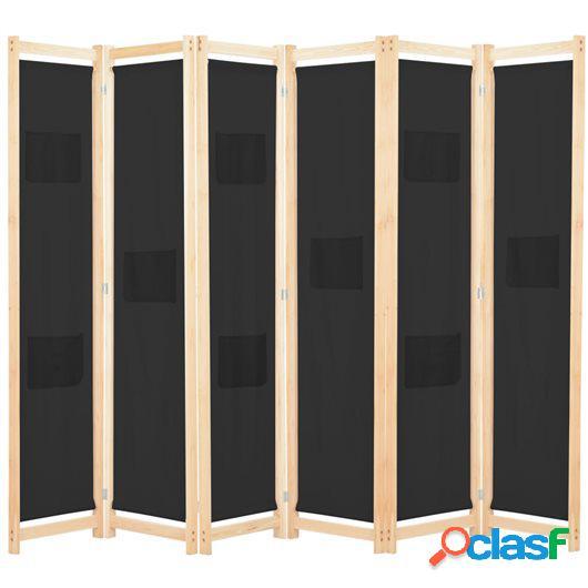 Biombo divisor de 6 paneles de tela negro 240x170x4 cm