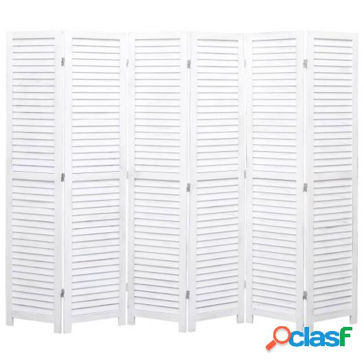 Biombo divisor de 6 paneles madera blanco 210x165 cm