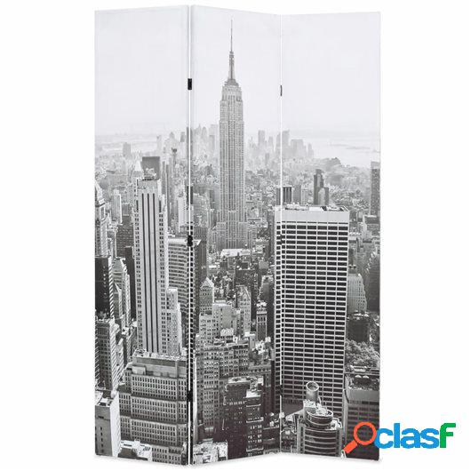 Biombo divisor plegable 120x170 cm Nueva York blanco y negro