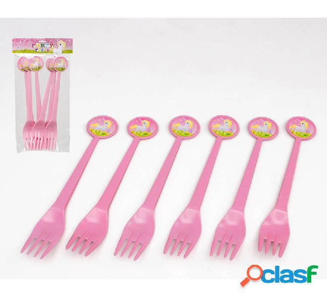 Blister de 6 Tenedores de Unicornio de plástico 17 cm
