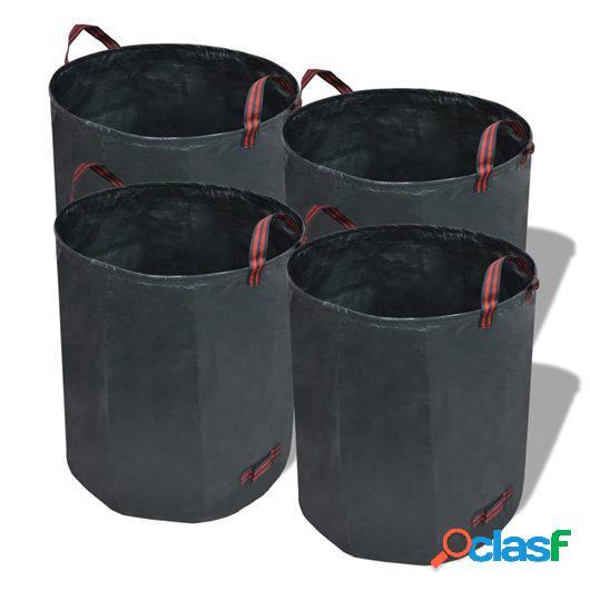 Bolsas de basura para jardín verde oscuro 4 piezas 272 L