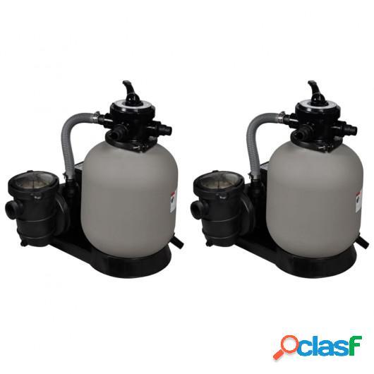 Bombas de filtro de arena 2 unidades 600 W 17000 l/h
