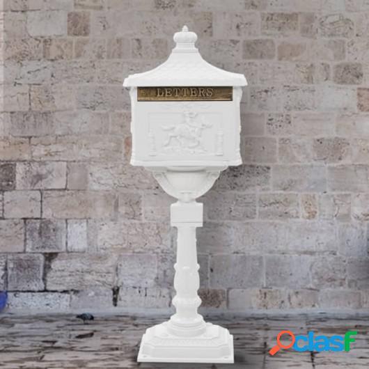 Buzón de pedestal de aluminio estilo vintage inoxidable
