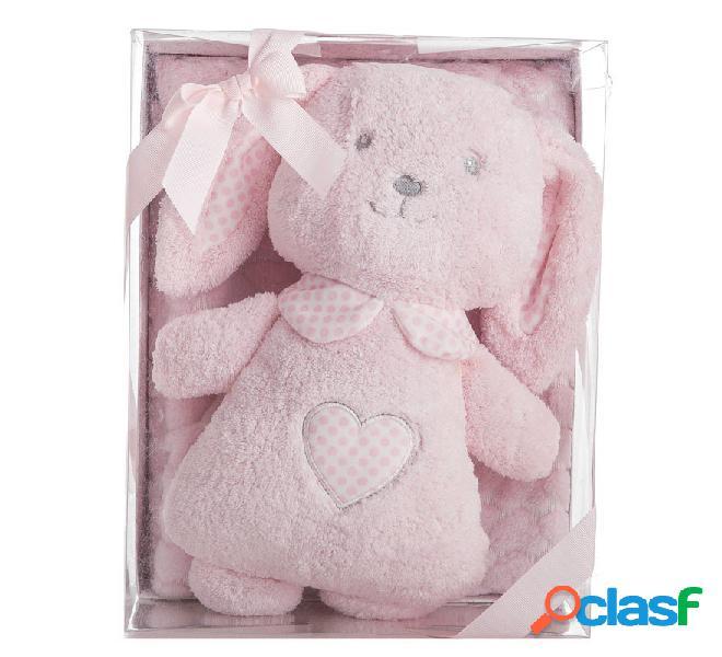 Caja con Manta de 100x75 cm y Conejo Rosa de 33 cm