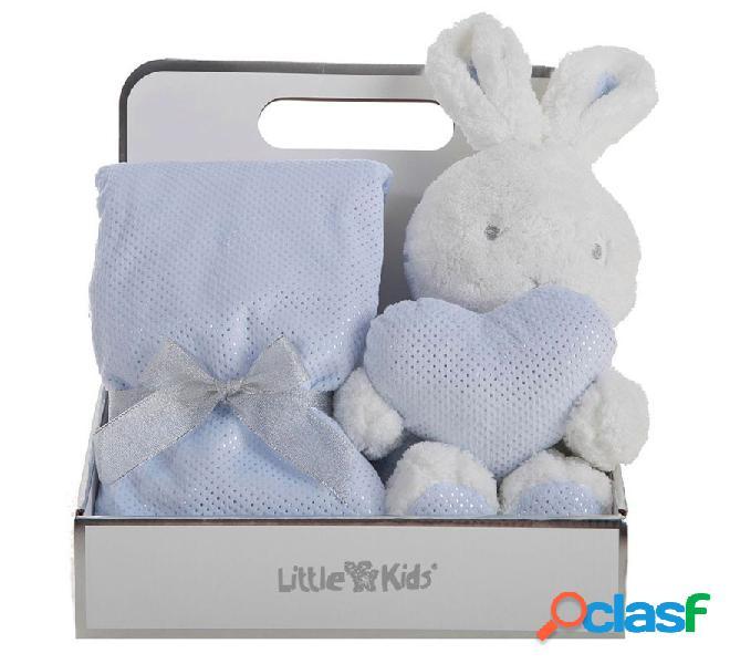 Caja con Manta de 75x75 cm y Conejo Azul de 30 cm