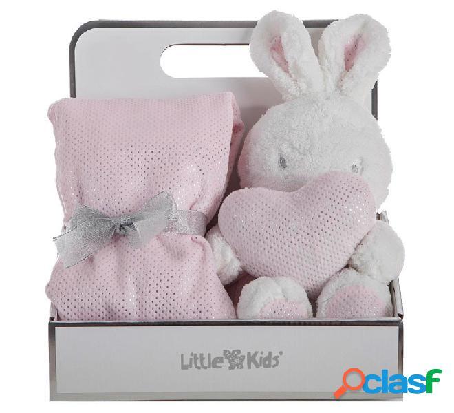 Caja con Manta de 75x75 cm y Conejo Rosa de 30 cm