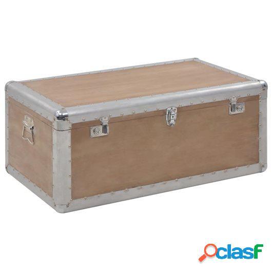 Caja de almacenaje madera maciza abeto 91x52x40 cm marrón