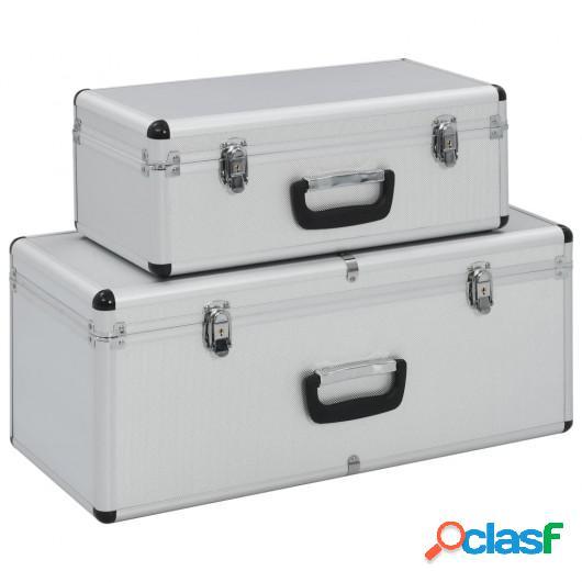 Cajas de almacenamiento 2 unidades aluminio plateado