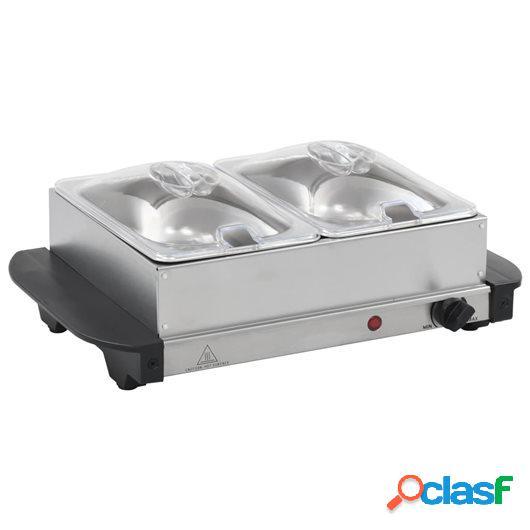 Calientaplatos para bufé de acero inoxidable 200 W 2x1,5 L