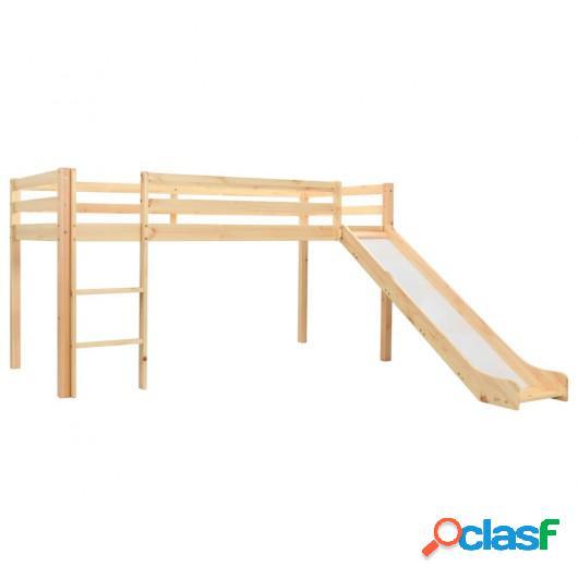 Cama alta para niños tobogán y escalera madera pino 97x208