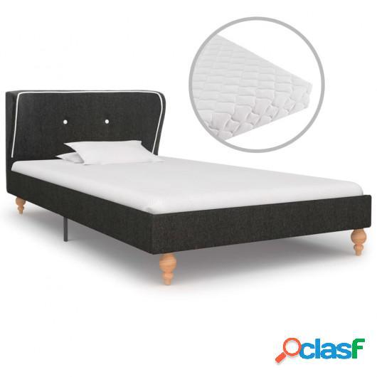 Cama con colchón arpillera gris oscuro 90x200 cm
