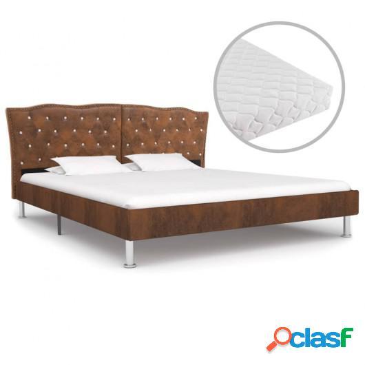 Cama con colchón tela marrón 160x200 cm