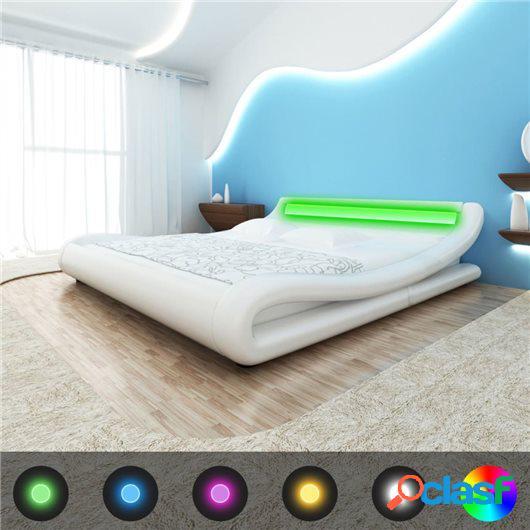 Cama con colchón viscoelástico LED cuero sintético blanco