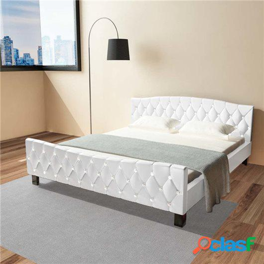 Cama con colchón viscoelástico cuero sintético blanca
