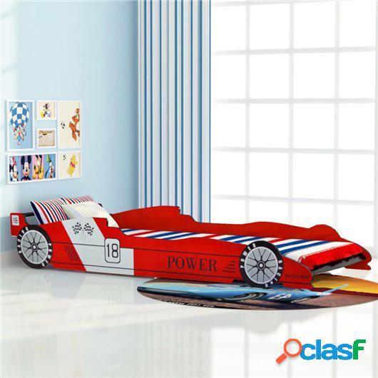 Cama con forma de coche de carreras para niños roja 90x200