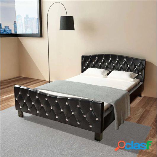 Cama de cuero sintético negra con colchón 140x200 cm