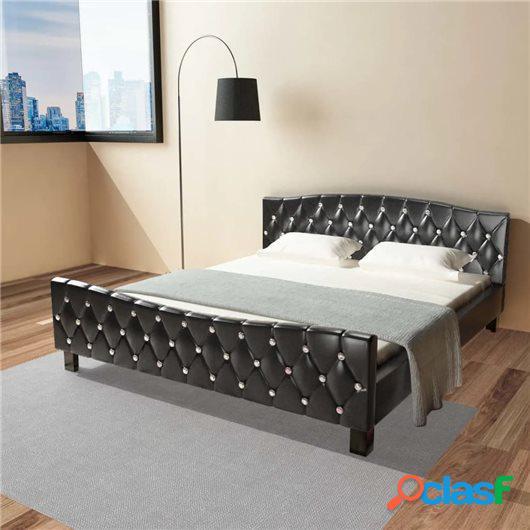Cama de cuero sintético negro con colchón 180x200 cm