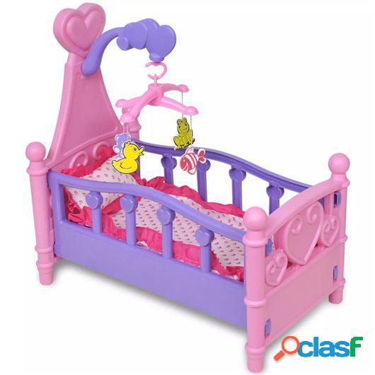 Cama de juguete para muñeca rosa + morada