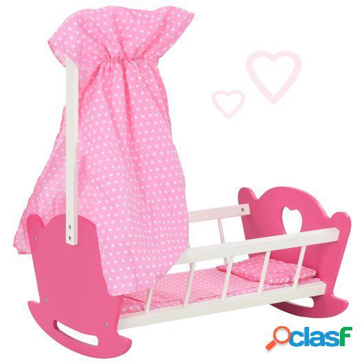 Cama de juguete para muñecas con dosel de MDF rosa 50x34x60