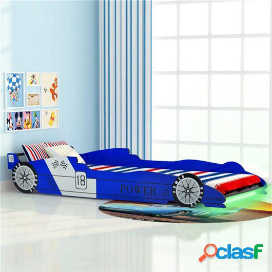 Cama infantil con forma de coche carreras y LED 90x200 cm