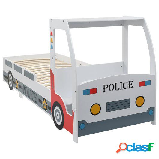 Cama infantil forma de coche de policía y escritorio 90x200