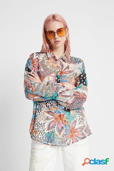 Camisa boho floral abullonada - MATERIAL FINISHES - M
