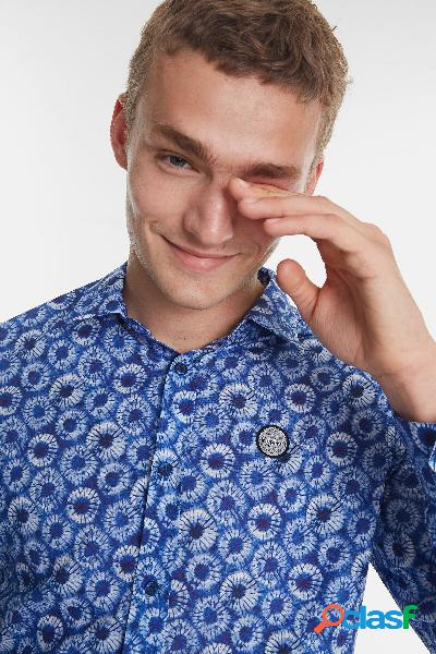 Camisa casual microfloral - BLUE - XXL