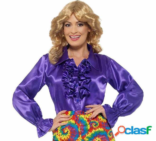 Camisa con Volantes de Hippie Morada para mujer