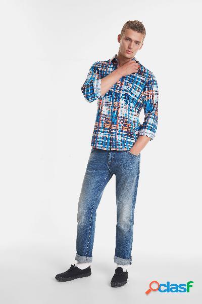 Camisa orgánica a rayas de jacquard - BLUE - XL
