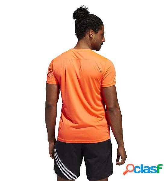 Camiseta M/c Running Adidas 3-stripes M Naranja