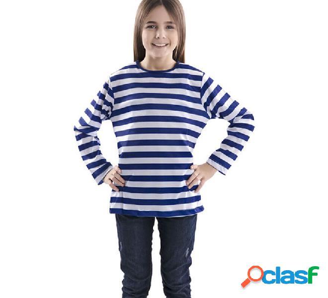 Camiseta con rayas azules y blancas para niños
