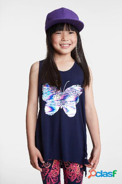 Camiseta mariposa de lentejuelas reversibles - BLUE - 3/4