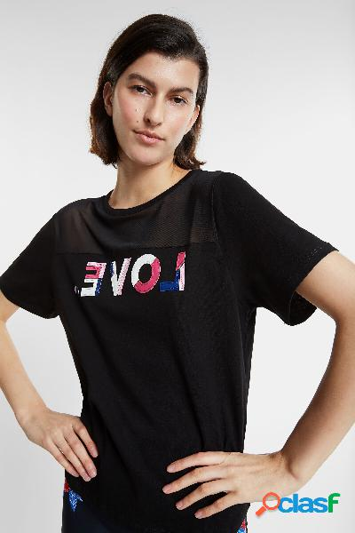 Camiseta orgánica LOVE con transparencia - BLACK - S