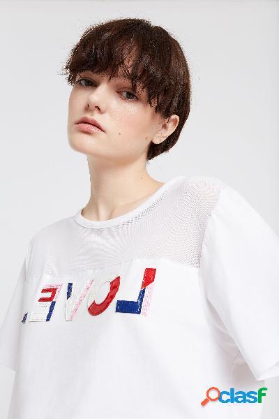 Camiseta orgánica LOVE con transparencia - WHITE - L