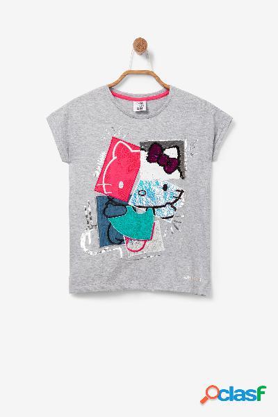 Camiseta patch Hello Kitty lentejuelas reversibles - BLACK -