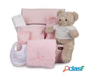 Canastilla bebé travel punto rosa