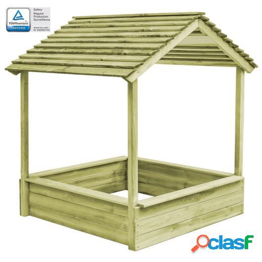 Casa de juegos de jardín con cajón de arena madera de pino