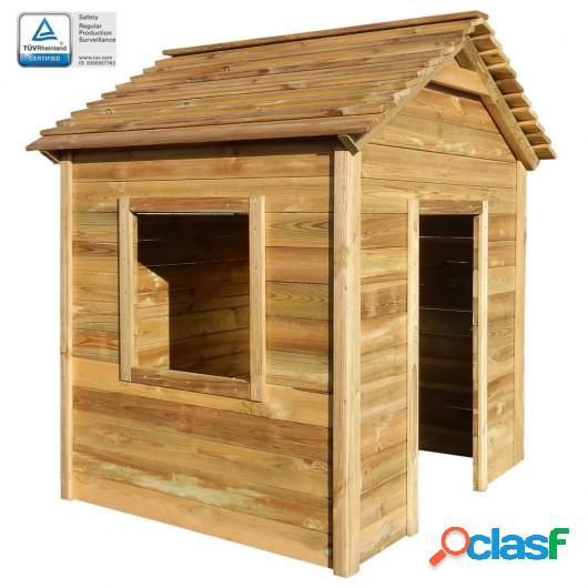 Casa de juegos de jardín de madera de pino FSC 123x120x146