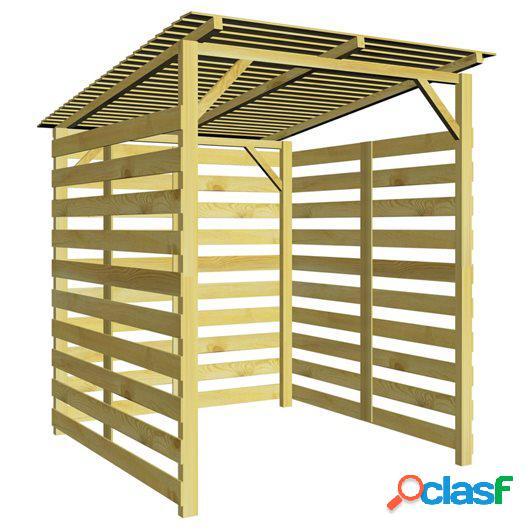 Caseta para leña de madera de pino impregnada FSC