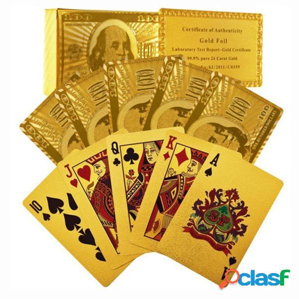 Certified Pure 24 Carat Gold Foil Plated Tarjetas de póquer