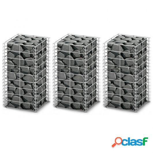 Cestas de muro de gaviones alambre galvanizado 25x25x50cm 3