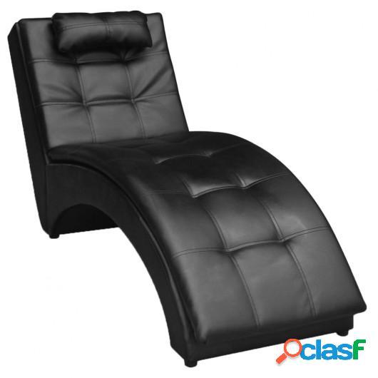 Chaise lounge diván con cojín de cuero artificial negro