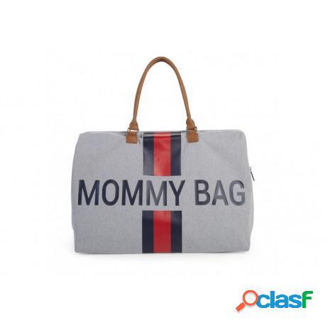 Childhome - Bolso Mommy Bag Gris-Líneas Rojas Y Azules