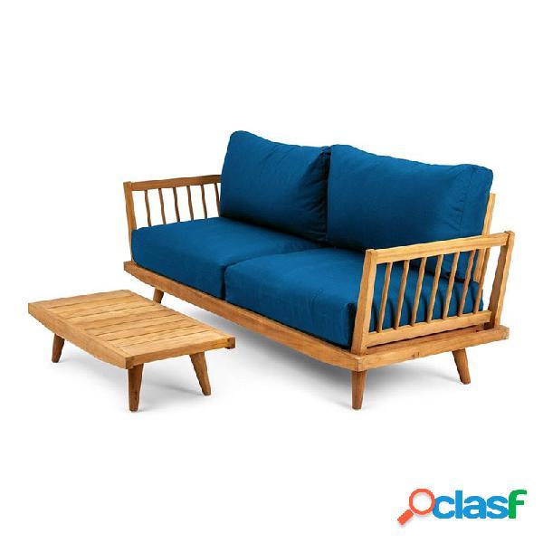 Chillvert - Conjunto sofá de 2 plazas y mesa Jersey